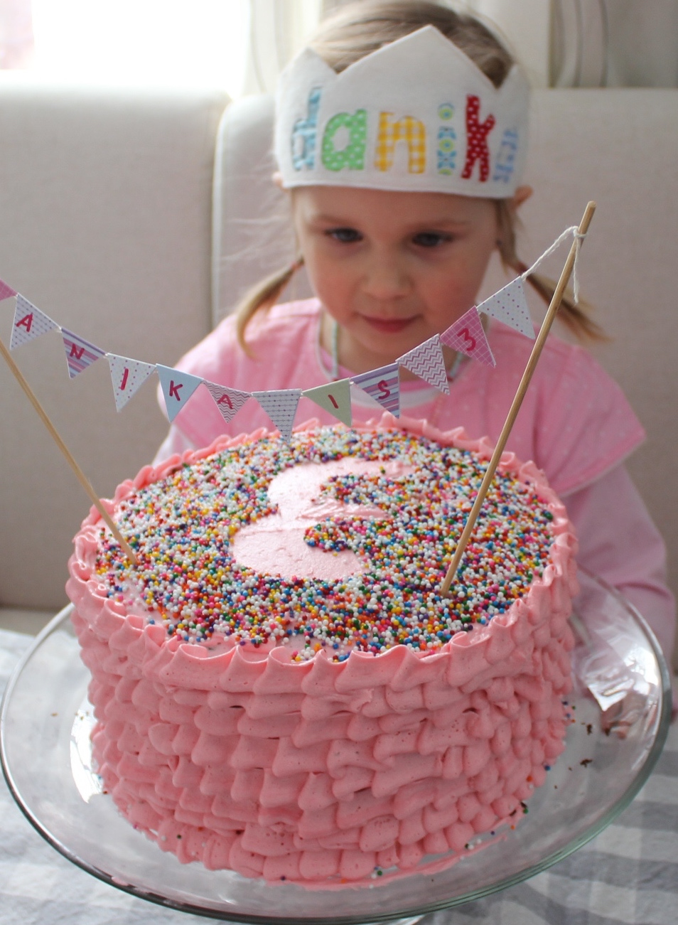 Pink ruffle cake for Danika's 3rd birthday