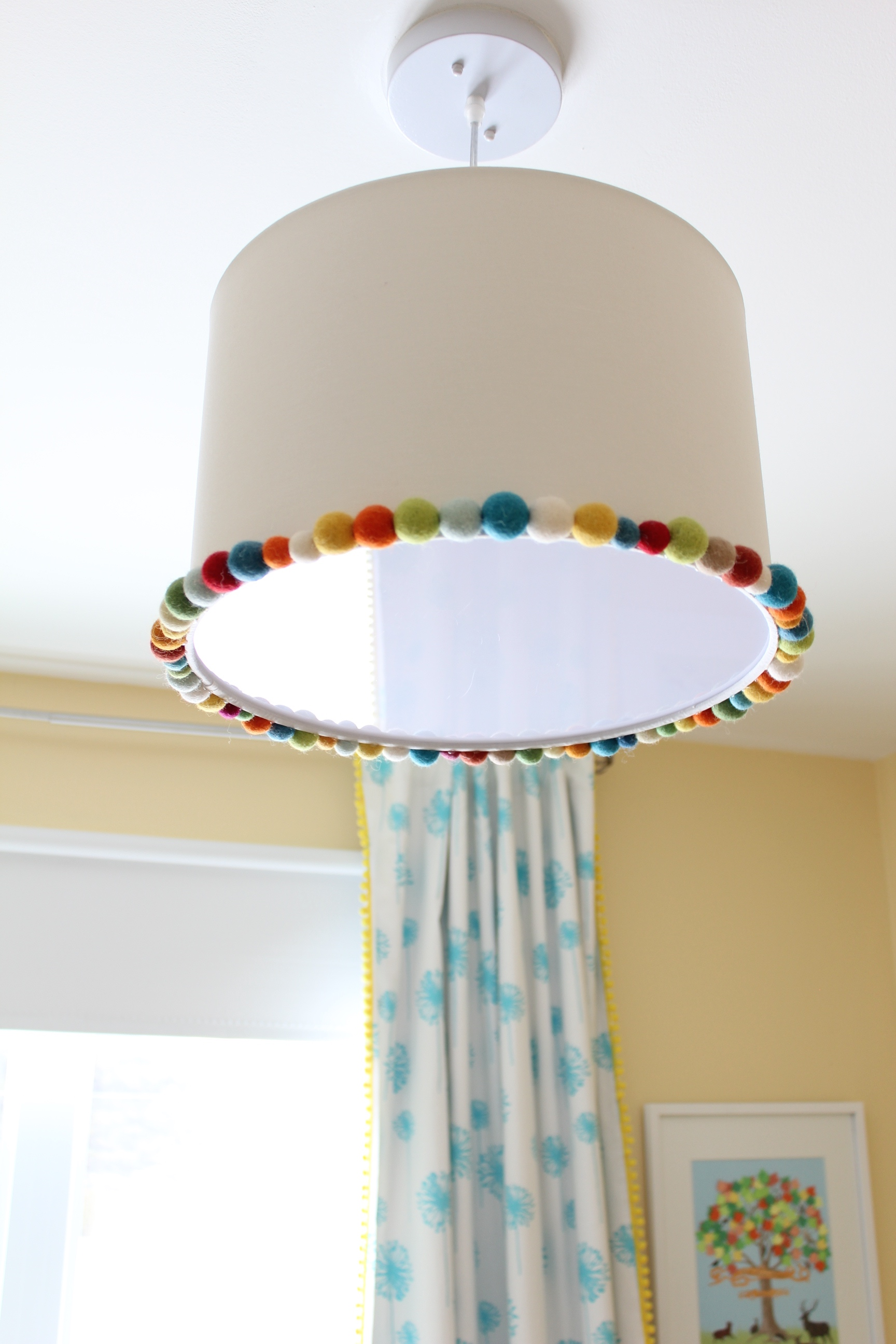 ceiling light fixture embellished with felt balls