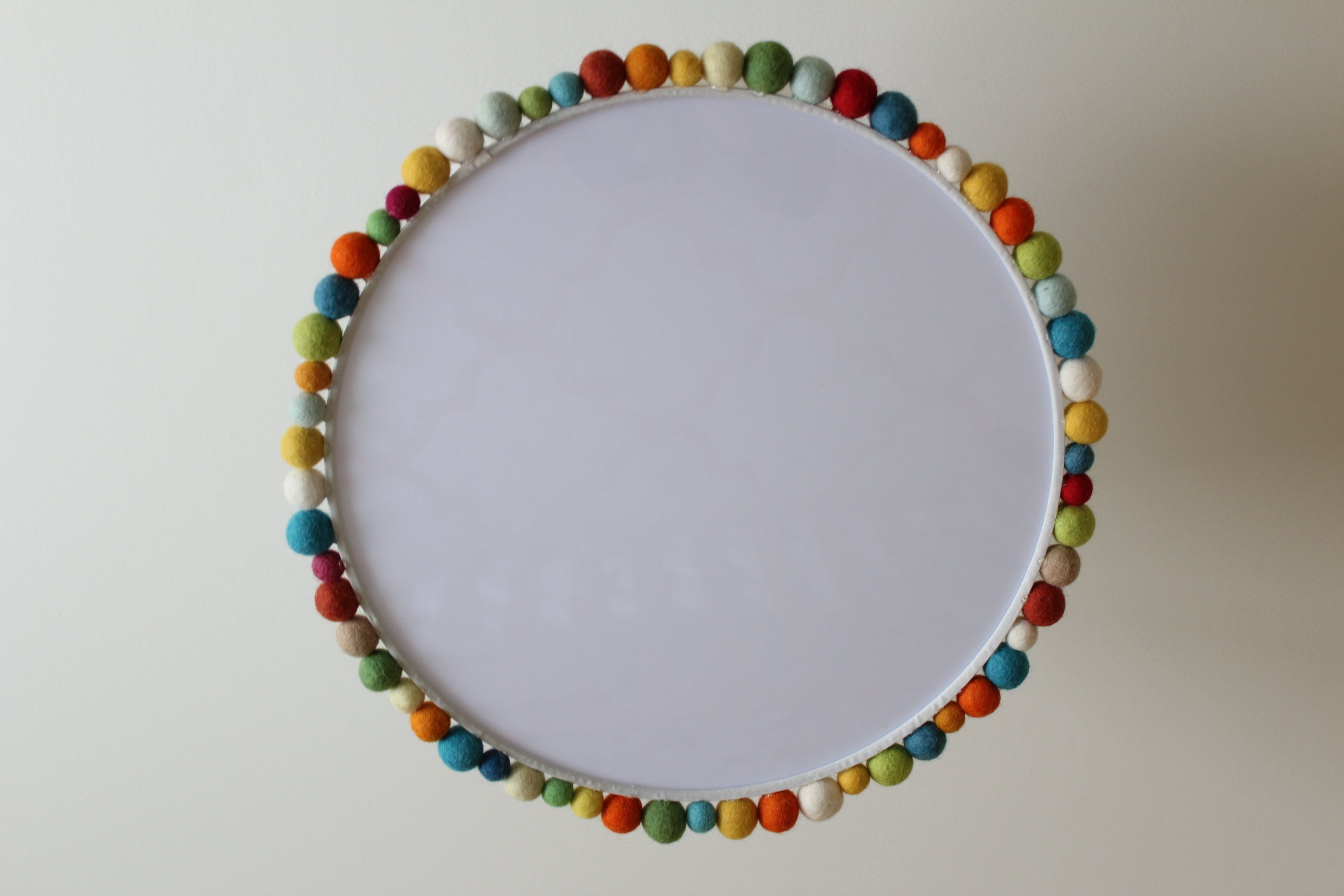 Customized ceiling light drum shade with felt balls