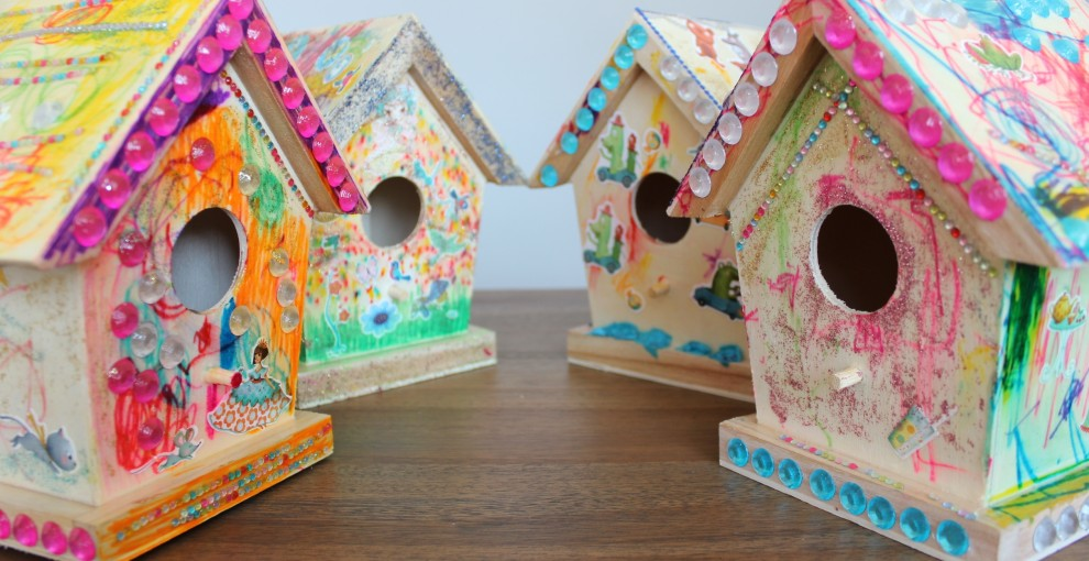 Birdhouses decorated by pre-schoolers