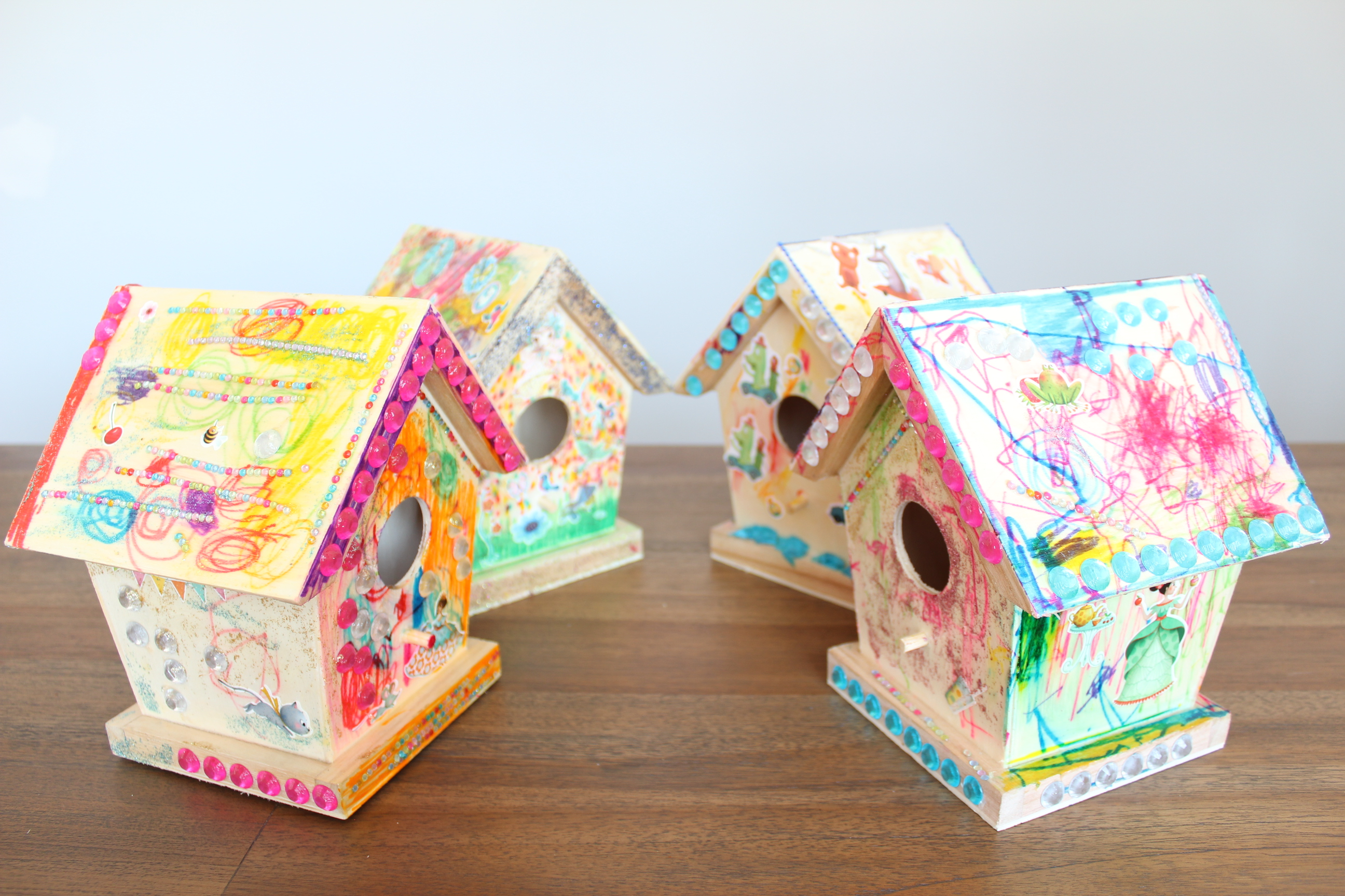 Birdhouses decorated by pre-schoolers - Birthday party activity