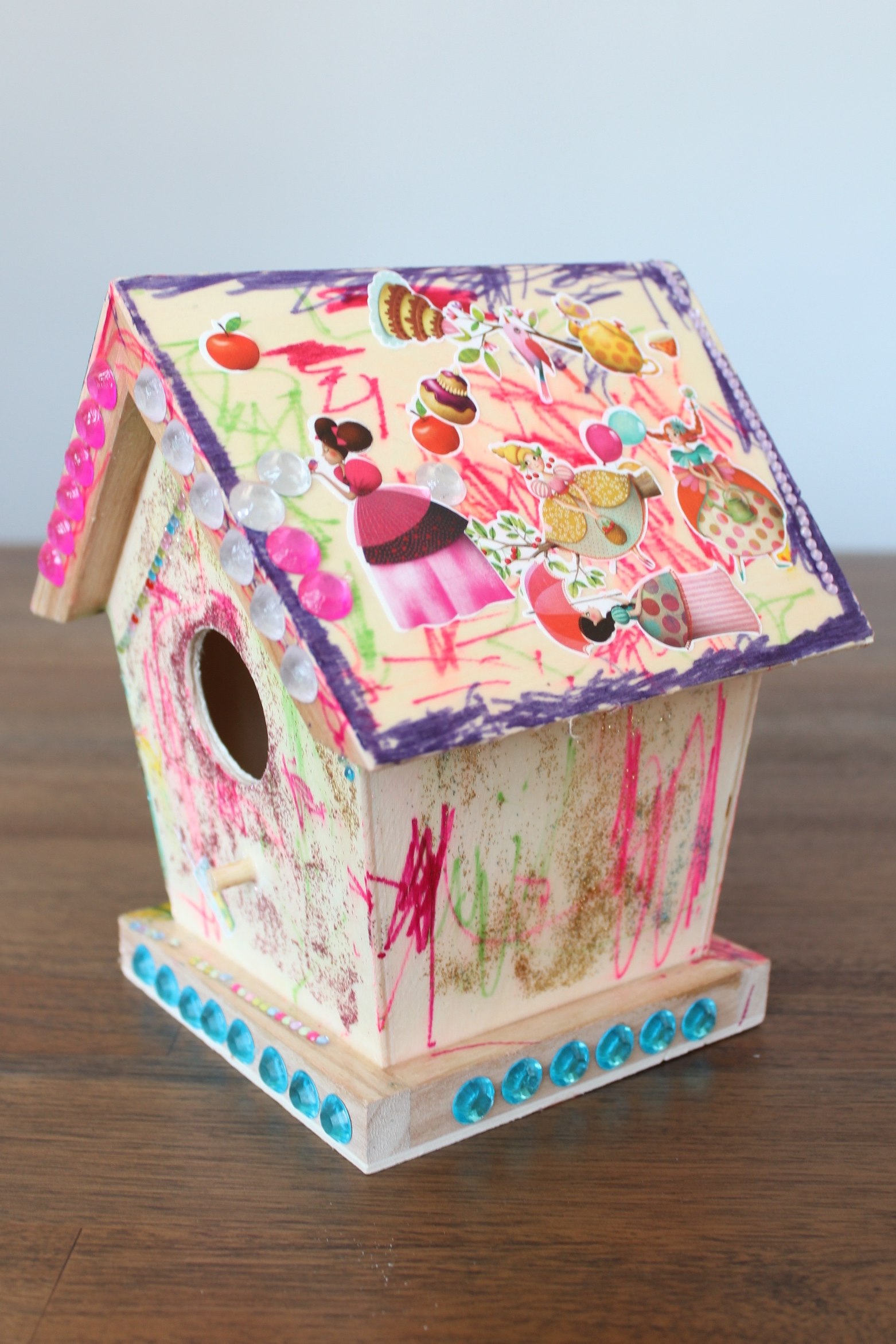 Birdhouse decorated by Maya and Haley
